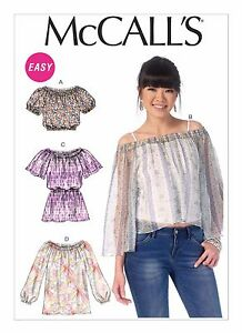 M7163 Mccalls Sewing Pattern Misses 4 26 Pullover Peasant Tops