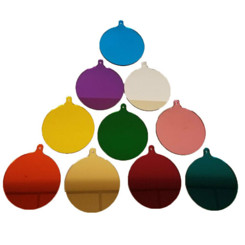 Acrylic Multi Colored Mirror Round Baubles Blank with Hole [10 PACK]