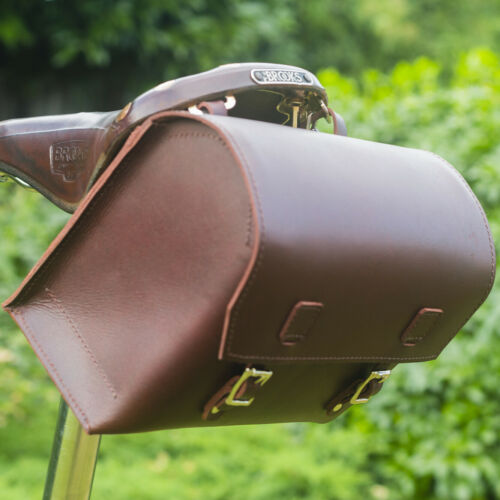 Large Genuine Leather Bicycle Bag Box Saddle//Handlebar 23x19.5x11cm in BLACK