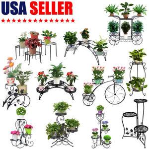 Metal-Flower-Pot-Plant-Stand-Display-Shelf-Indoor-Garden-Decor-Wrought-Iron-USA