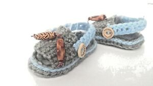 BABY-CROCHET-SANDALS-HANDMADE-FIRST-SHOES-BUTTONS-WOOD-BEADS-WOOD-GREY-BABY-BLUE