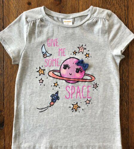 GYMBOREE 3 T 5 T Espace 18-24 M tee shirt Saturn Stars Moon Rocket Rose Filles 24 Mo