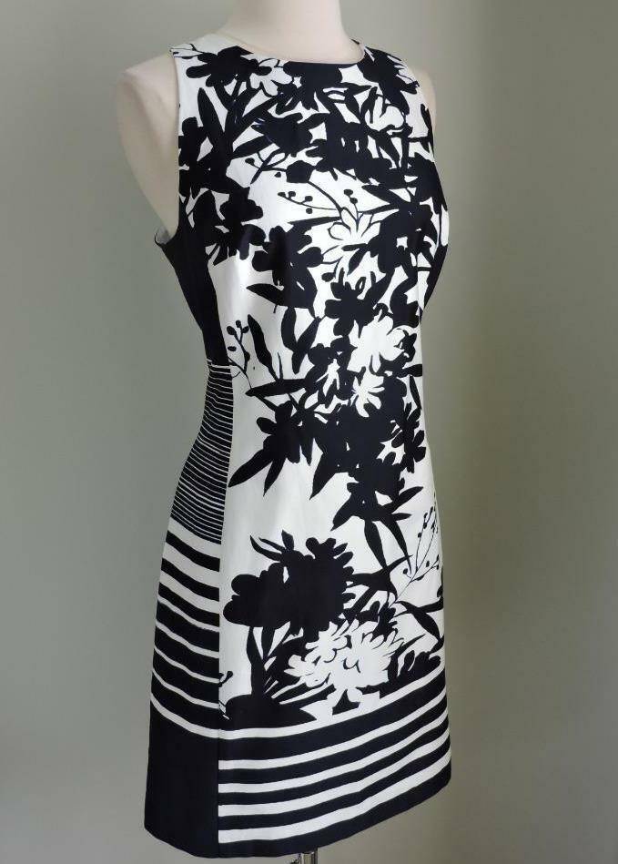 NWT RALPH LAUREN Mixed Print Navy Blau & Weiß Dress 12 ( Large )
