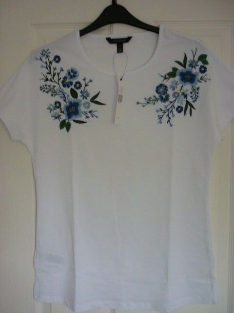 6499c3ad LONG TALL SALLY WHITE EMBROIDERED FLORAL TEE TOP SMALL UK 12, EUR 40, US