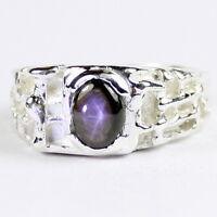 • R197-wg, Natural Black Star Sapphire, 10k White Gold Men's Ring, Handmade