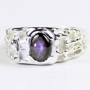NATURAL-BLACK-STAR-SAPPHIRE-Sterling-Silver-Men-039-s-Ring-Handmade-SR197