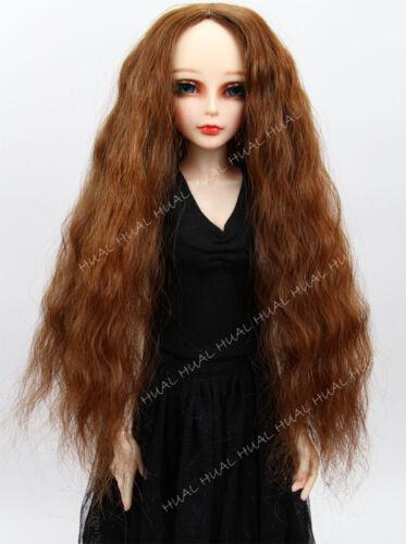 """Cap 6-7/"""" 1//6 BJD Wig Fairyland Curly SD LUTS Doll Golden Brown DZ DOD Hair Long"""