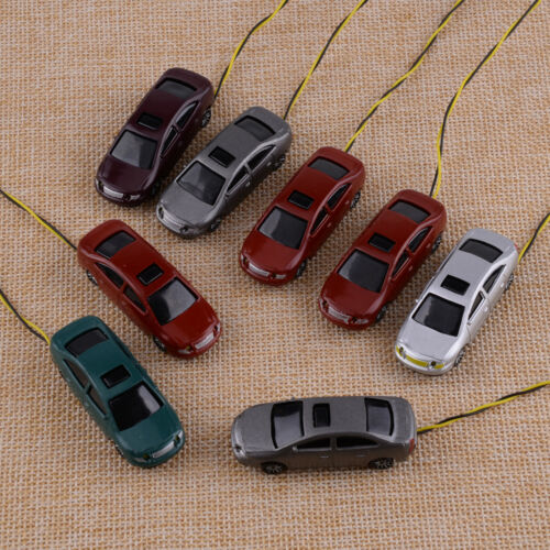 para Building Train Layout Toys 8Pcs Model Car with LEDs 1:100 TT Scale Lighted