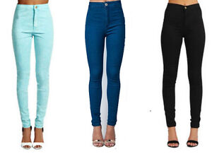 WOMENS-LADIES-SUPER-SKINNY-FIT-HIGH-WAIST-COLOURED-ACID-WASH-JEANS-SIZE-6-14