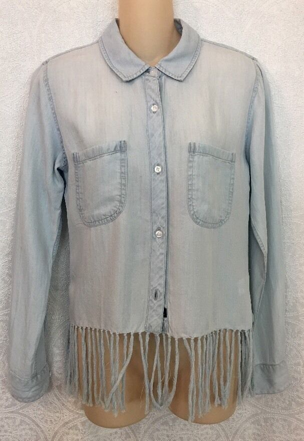 Rails Shirt Blau Denim Fringe Stripe X-Sm New