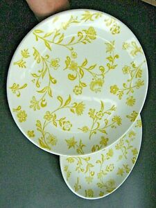 "2 Jamestown China Sunny Yellow Floral Dinner Plates 10 1/4"" USA EUC"