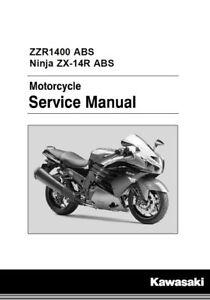 kawasaki ninja zx 14r zzr1400 abs 2016 2017 service manual on cd ebay rh ebay com zzr 1400 service manual Kawasaki ZZR 1400 2013