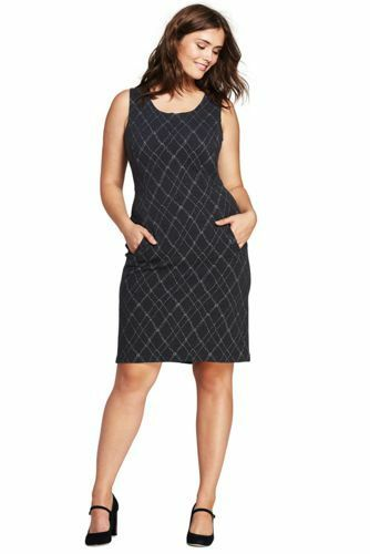 NEW LANDS END Sheath Dress Charcoal Heather Grey Windowpane PLUS 24W or 26W