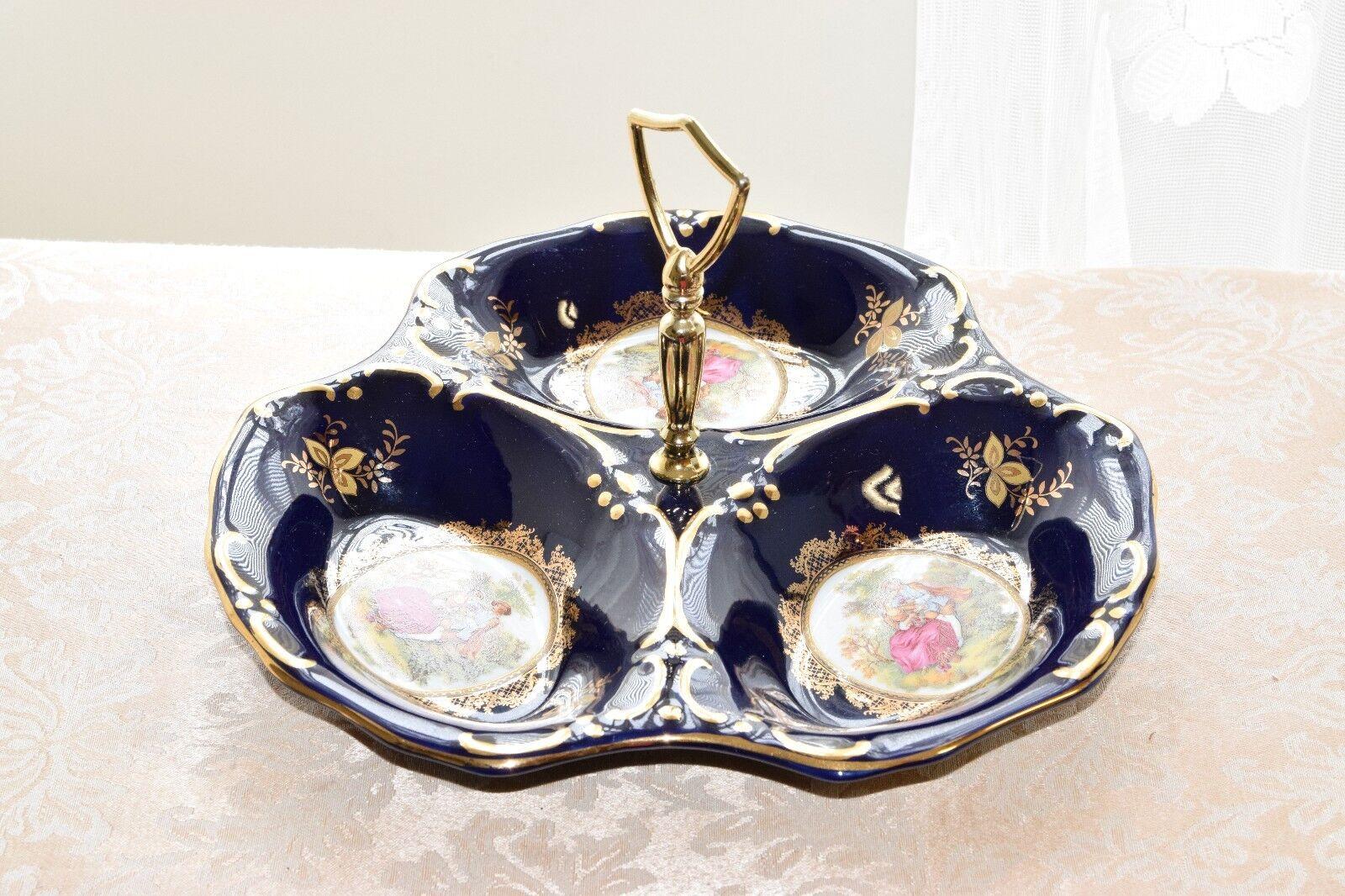 Vintage Bleu Cobalt en Porcelaine 3-section DIVIDED poignée plat plateau Relish Plaqué Or