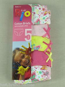 RIO-Girls-5-Pack-Cotton-Briefs-Underwear-sizes-2-3-4-Multi-Colour