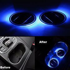 2pcs Car Solar Cup Holder Bottom Pad Blue LED Light Cover Trim Atmosphere Lamp