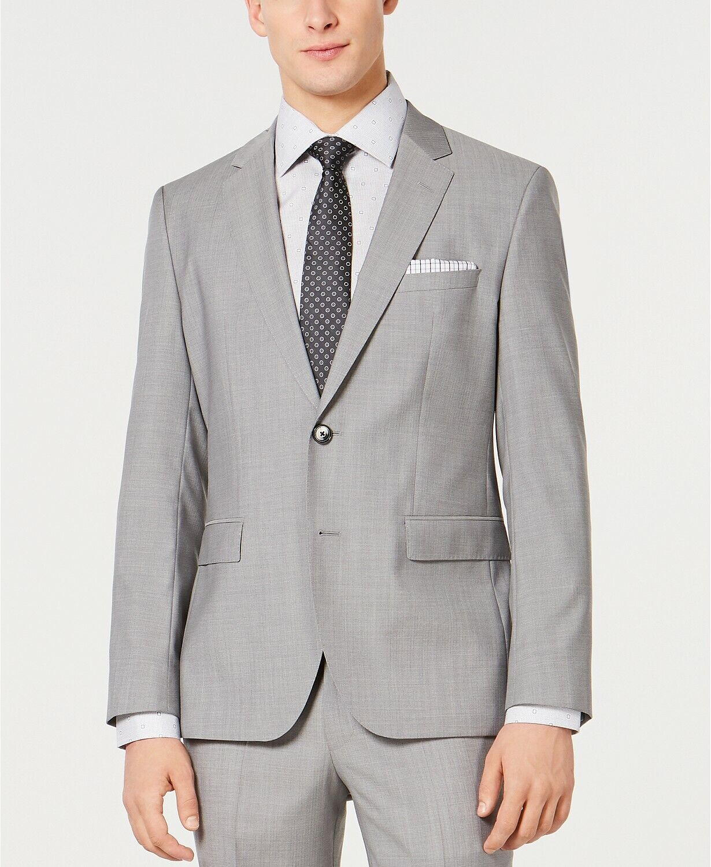 Bar III Extra Slim Gray Textured Two Button Wool New Mens Blazer 38 Regular