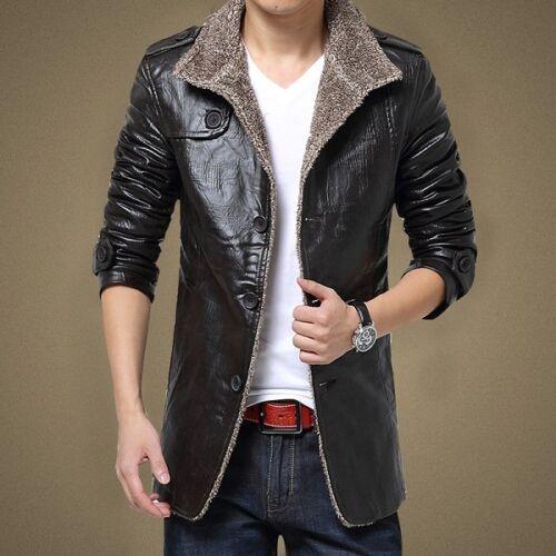 Men Faux Leather Coat Jacket Faux Fur Button Lined Parka Outerwear Stand Collar