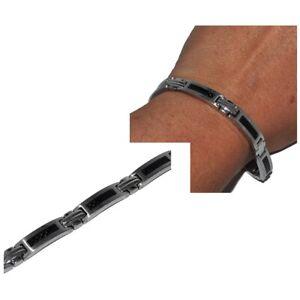 PHEBUS-Bracelet-homme-gourmette-acier-inoxydable-et-carbone-19-5cm-bijou