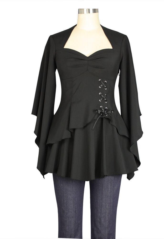 ANT 74710 Damen Blause Gothic Punk Top Viktorian Shirt Oberteil schwarz 36-58
