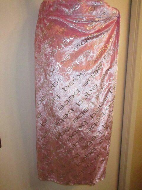 bebe L/XL LOGO Velvet Swim Bath Cover Up Skirt Pink Silver Foil Beach Pool RARE
