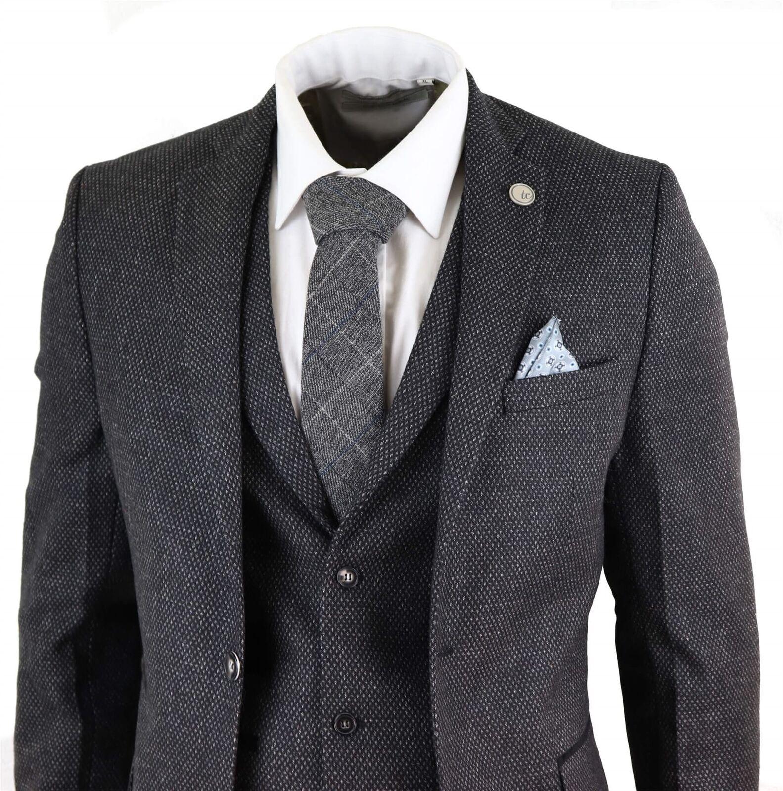 Costume homme laine mélangée 3 pièces tweed anthracite schwarz Peaky Blinders