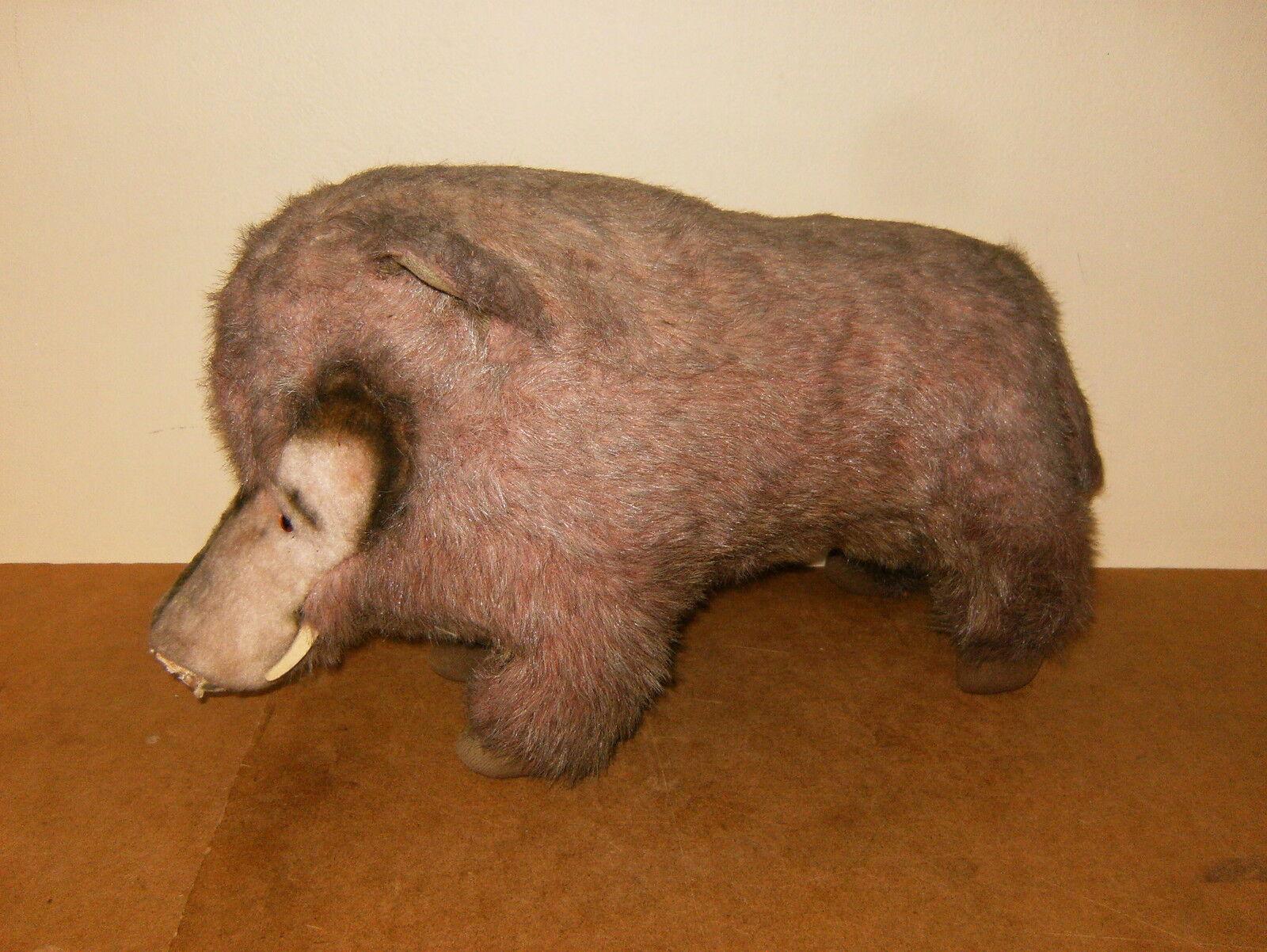 Ancienne peluche sanglier 40cm - HERMANN - vintage stuffed boar 15.7 inches