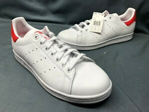 Adidas-Men-039-s-Stan-Smith-Casual-Sneakers-Leather-White-Red-Size-10-NEW