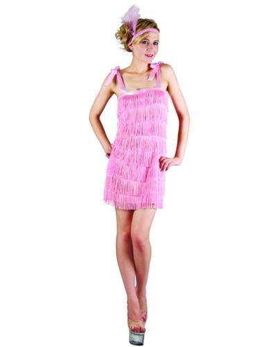 Ladies Fringe Flapper Fancy Dress Adult Pink Charleston Costume Gatsby 1930/'s
