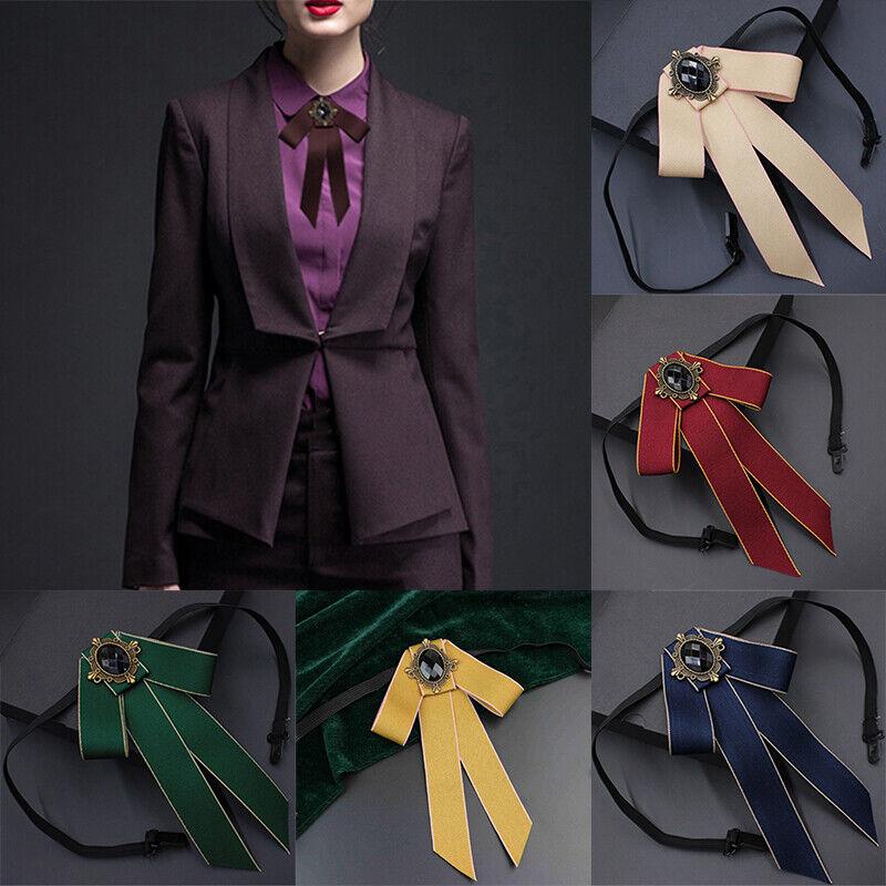 Unisex Blouse Bow Tie Adjustable Accessories Necktie Brooch Rhinestone Retro