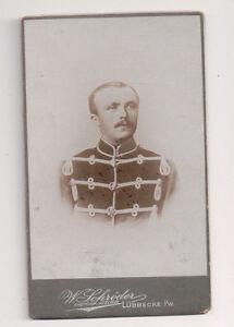 Vintage-CDV-German-Soldier-Ernest-Gerdou-Military-Uniform-Schroder-Photo-Lubbeck