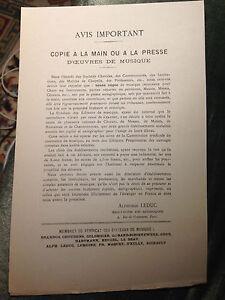 Curiosité musique édition tract contre copie fin XIXe siècle musicologie