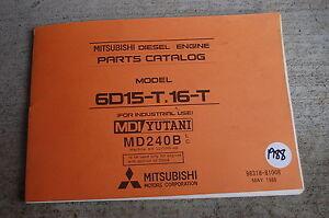 Details about MITSUBISHI 6D15-T 16-T Diesel Engine Parts Manual book  catalog list 1988 spare