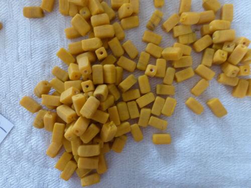 perle vintage lot  150 perle en verre orange jaune orangé mat forme rectangle