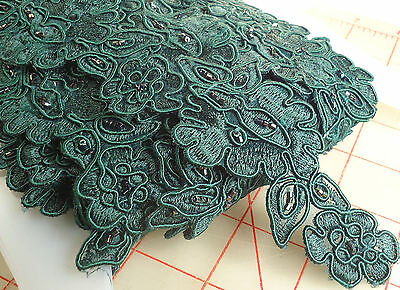 10 yards embroidered emerald green trim alternating large & small flower beaded