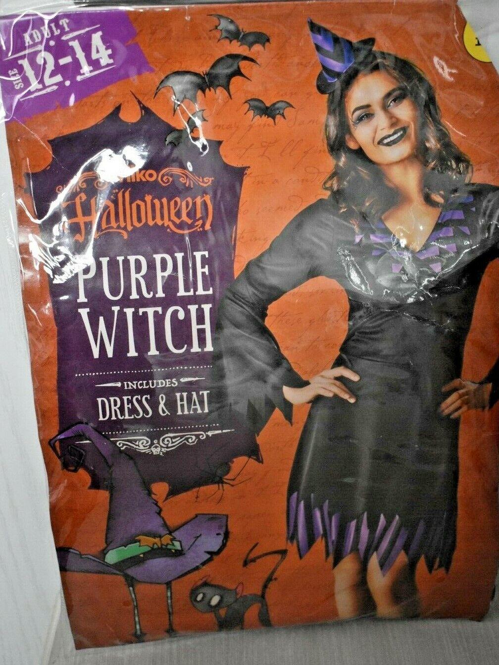 WOMENS SIZE 12-14 PURPLE WITCH HALLOWEEN FANCY DRESS COSTUME + HAT BNWT