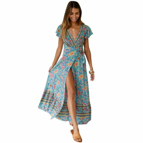 Women Wrap Boho Floral Paisley Maxi Dress Ladies Summer Holiday Beach dersses