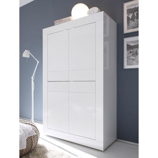 Highboard Basic Kommode Wohnzimmer Sideboard Schrank weiß lackiert 4-türig