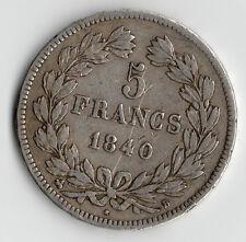 TOP RARE MONNAIE / ECU 5 FRANCS ARGENT LOUIS PHILIPPE DE 1840 B @ ROUEN @ RARE