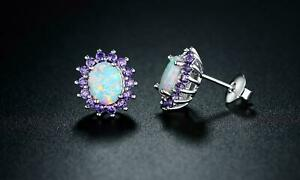 3Ct-Oval-Cut-Fire-Opal-Halo-Amethyst-Women-039-s-Stud-Earrings-14k-White-Gold-Over