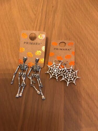 NEUF Pendentif attaché Halloween Spider Web ou Squelette Boucles D/'oreilles