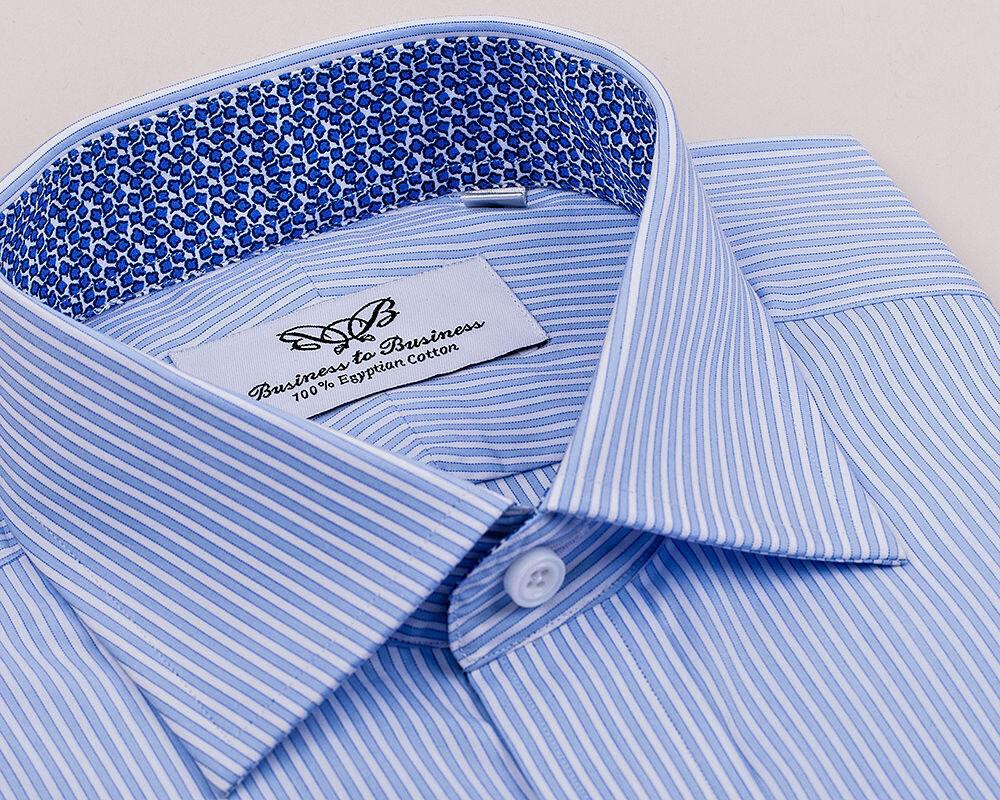 Blau Striped Dress Shirt Italian Lily Floral Geschäft Formal Best  Herren Style AUS