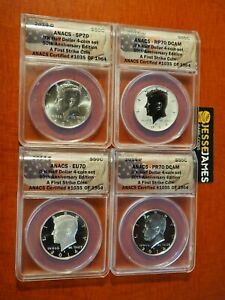 2014-W-REVERSE-PROOF-SILVER-KENNEDY-4-COIN-ANACS-PR70-SP70-FS-50TH-SET-S-D-P