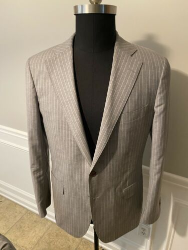 Suit Supply Hudson Fit Grey Pinstripe Notch Lapel