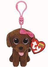 MADDIE DOG - Ty Beanie Boos Keyring Key Clip - Plush Boo Babies Toy Teddy