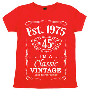 Women-039-s-45th-Birthday-T-Shirt-034-Est-1975-Classic-Vintage-034-Ladies-45-years-Gift