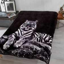 Dreamscene Faux Fur White Tiger Mink Throw Fleece Blanket Thick Warm - 150x200cm