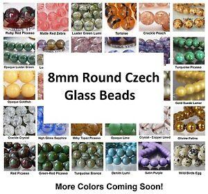8mm-Round-Druk-Czech-Glass-Beads-20-Choose-Color-New-Arrivals