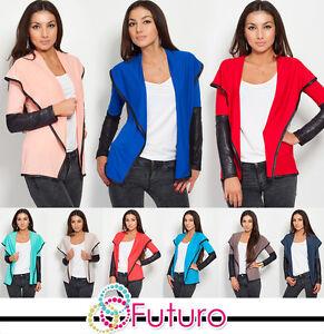 Elegant-Sensible-Womens-Jacket-Blazer-Style-Eco-LEATHER-Cardigan-8080
