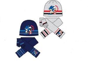 0eab9ecf342 Boys Sonic The Hedgehog Hat Scarf   Gloves 3PC Kids Retro Beanie Set ...